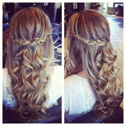 Cute Half Pulled Back Braid With Soft Curls Hair Prom
