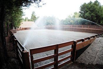 Sprinkler system for arena, this would be so much more efficient instead of waiting for the pivot to go by! haha!