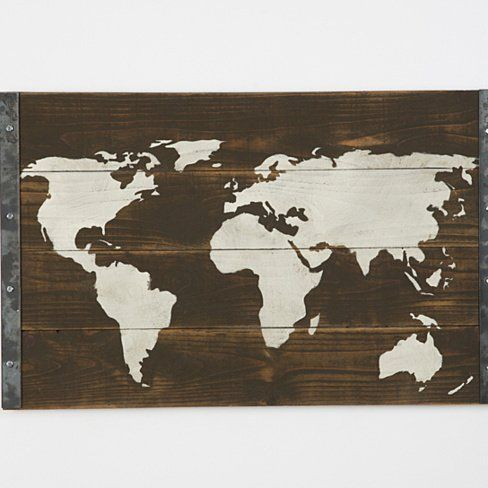 Reclaimed Wood World Map - This is lightly sanded then hand painted. We then cover them with a clear coat to seal the picture. The wood is left in its natural color.measures 38x24