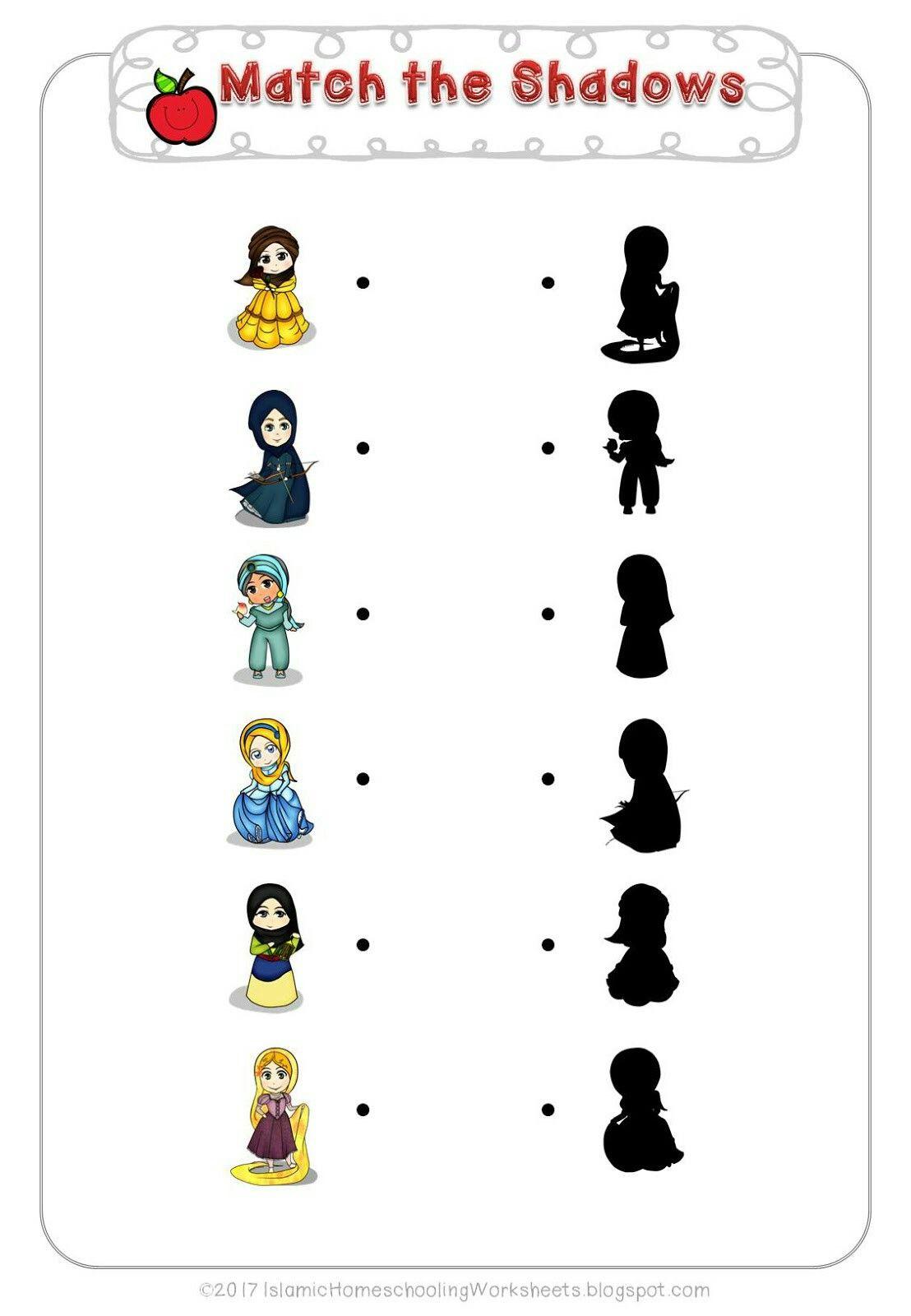 Worksheets Disney Worksheets match the shadows in free disney princess preschool pack islamic version petite section disney