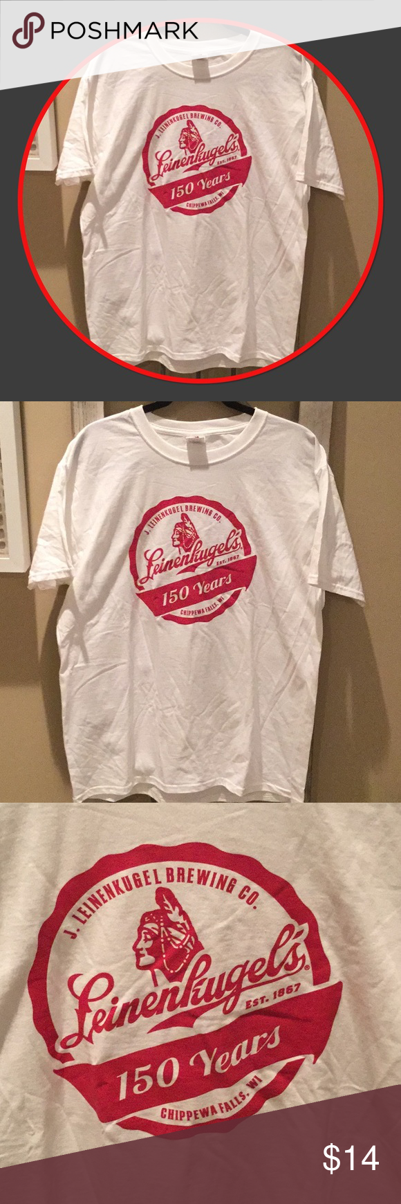 c3be9c1ae98 Leinie s Mens T-shirt Leinenkugel s men s T-shirt. Size Large. NWOT. White  tee with red logo and writing. Shirts Tees - Short Sleeve