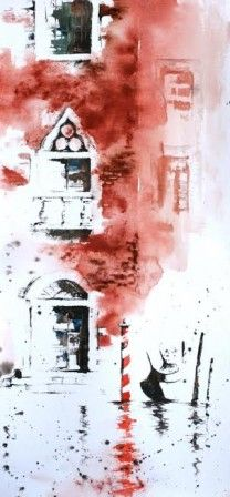 Venise Rouge Aquarellistes Peinture Croquis Peinture Aquarelle