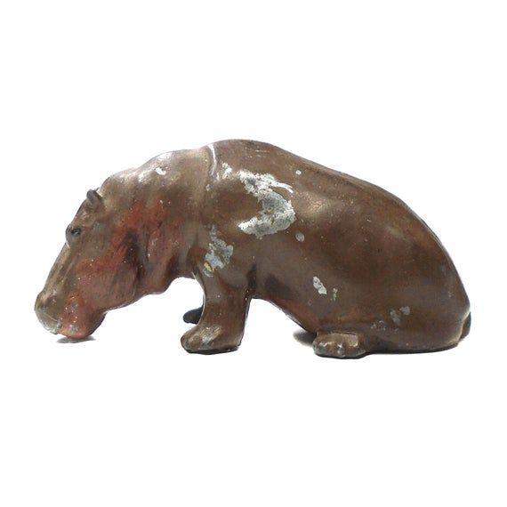 Rare Antique 1930s Lead Toy Baby Hippo Hippopotamus Taylor And Barrett Zoo Animal Wild Miniature Vintage Safari Jungle River Cow Horse Art #babyhippo