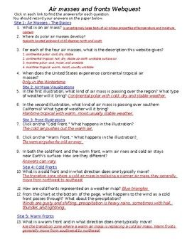 Air Mass Worksheet Answer Key : worksheet, answer, Masses, Fronts, Worksheet, Answers