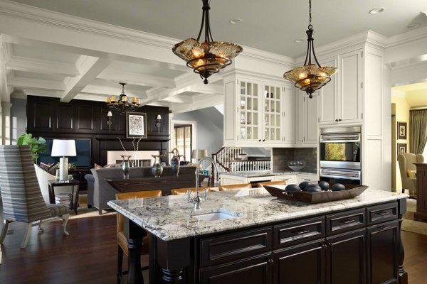 Fabulous White Ice Granite Countertops Dark Kitchen Island White
