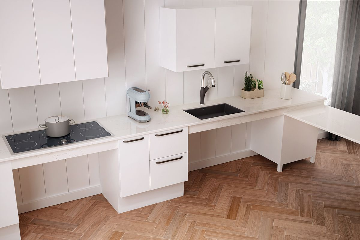 Five Requirements For Accessible Kitchen Design Archpaper Com In 2020 Accessible Kitchen Kitchen Design Composite Kitchen Sinks