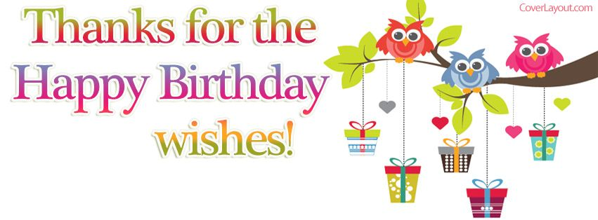 Thanks For The Birthday Wishes Owls Gifts Facebook Cover – Thank You Message for Birthday Greetings on Facebook