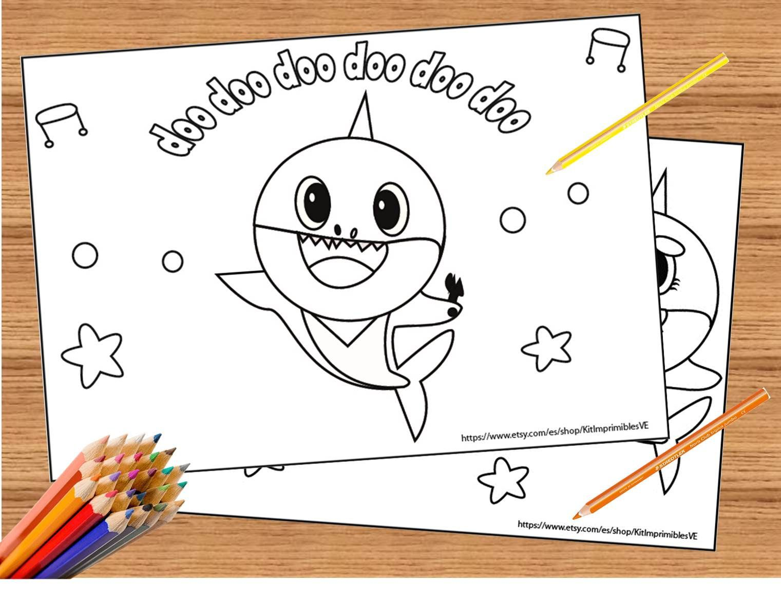Baby Shark Song 10 Coloring Pages Super Simple Coloring Printable Baby Shark Birthday Set Of 10 Coloring Pa Baby Shark Song Baby Shark Shark Coloring Pages