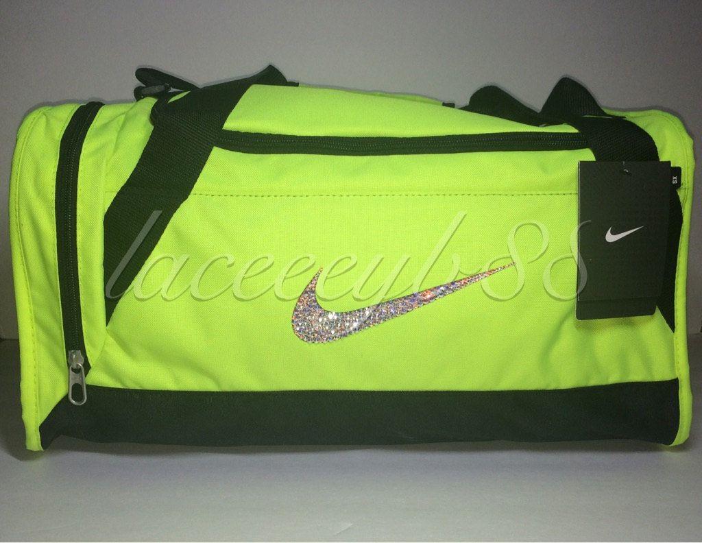 78bc049ba2 XS-Bling Swarovski Nike Duffle Bag-Volt by laceeeyb88 on Etsy ...