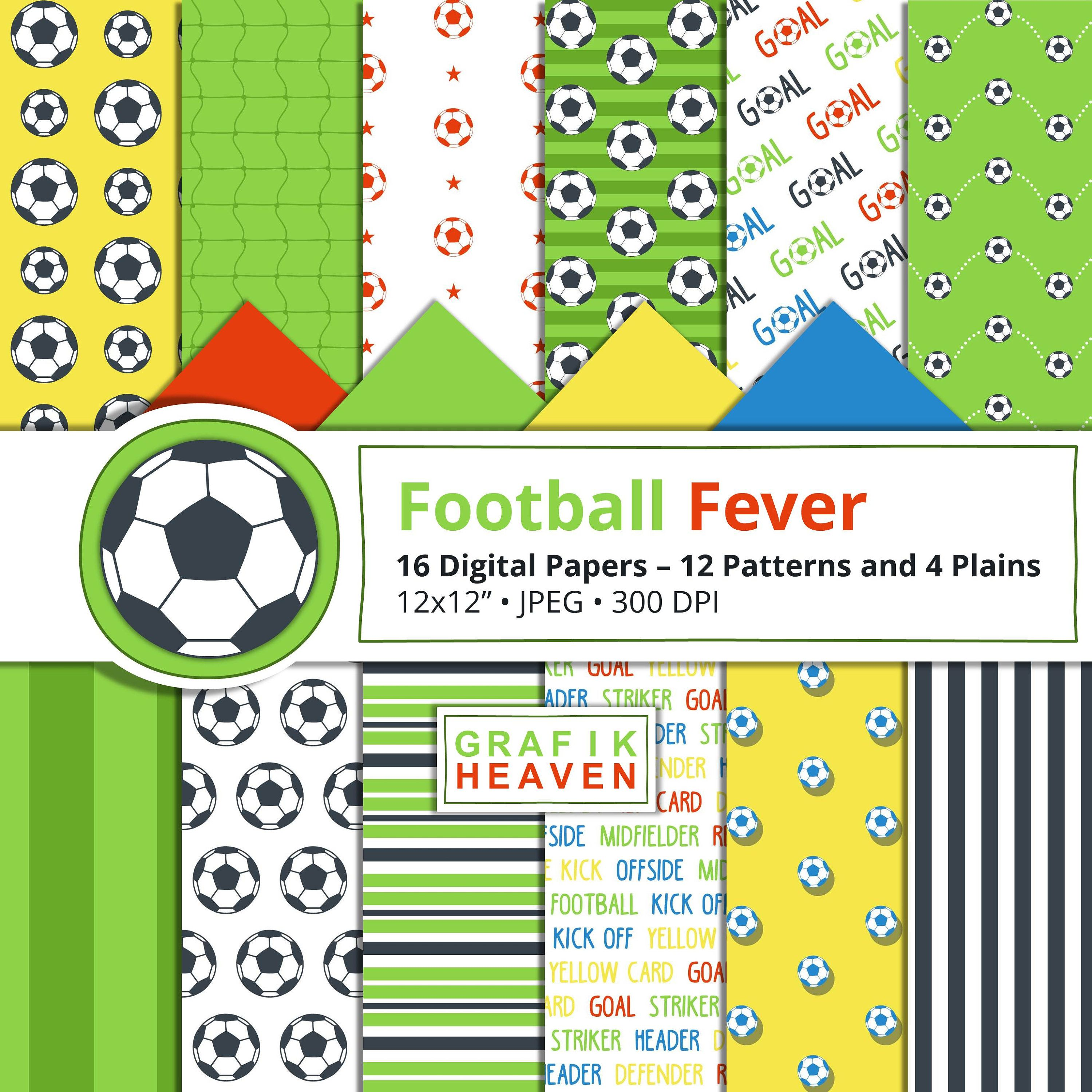 Football fever digital papers bright red blue green and yellow