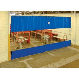 Blue Curtain Wall Partition With Clear Vision Strip 24 X 8 Blue