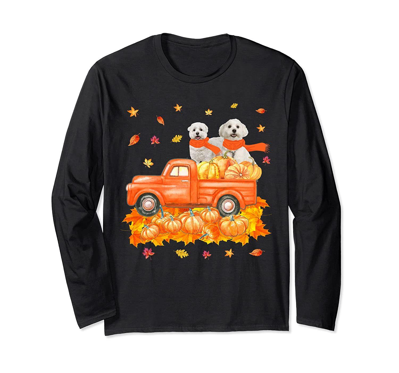 Maltese Pumpkin Truck Funny Thanksgiving Dog Pet Gifts Long Sleeve T-Shirt