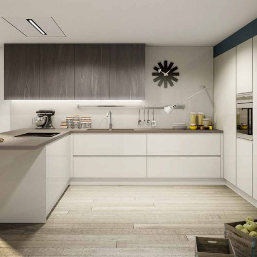 Contemporary Kitchen / Melamine / U-shaped / Lacquered