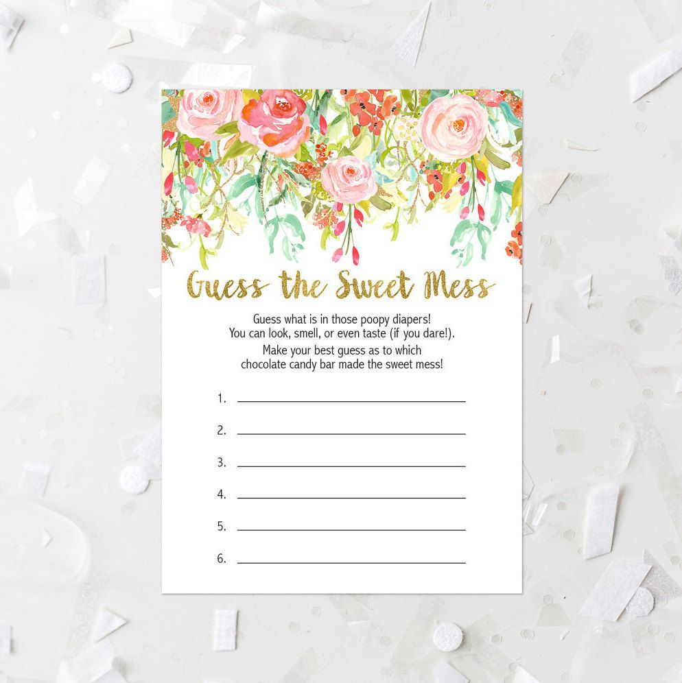 Spring Floral Guess The Sweet Mess Game Printable Baby Shower Guessing Game  Baby Shower Game Baby Shower Activity Ice Breaker Pink Gold 117 By ...