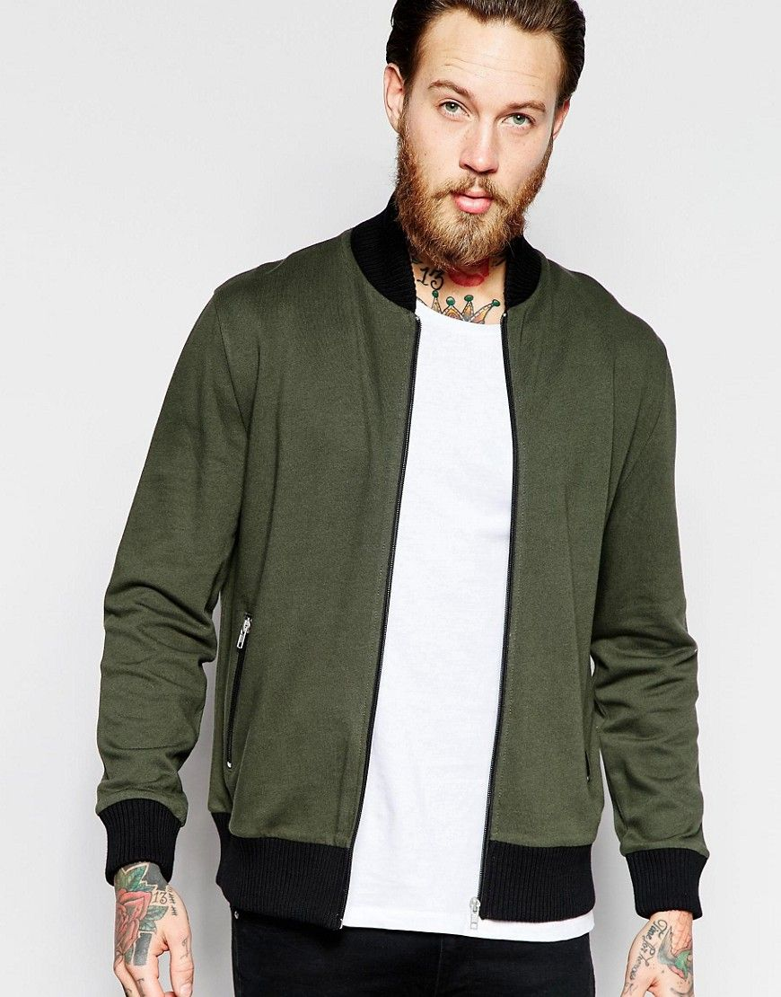 Image 1 of ASOS Jersey Bomber Jacket With Contrast Ribs In Khaki
