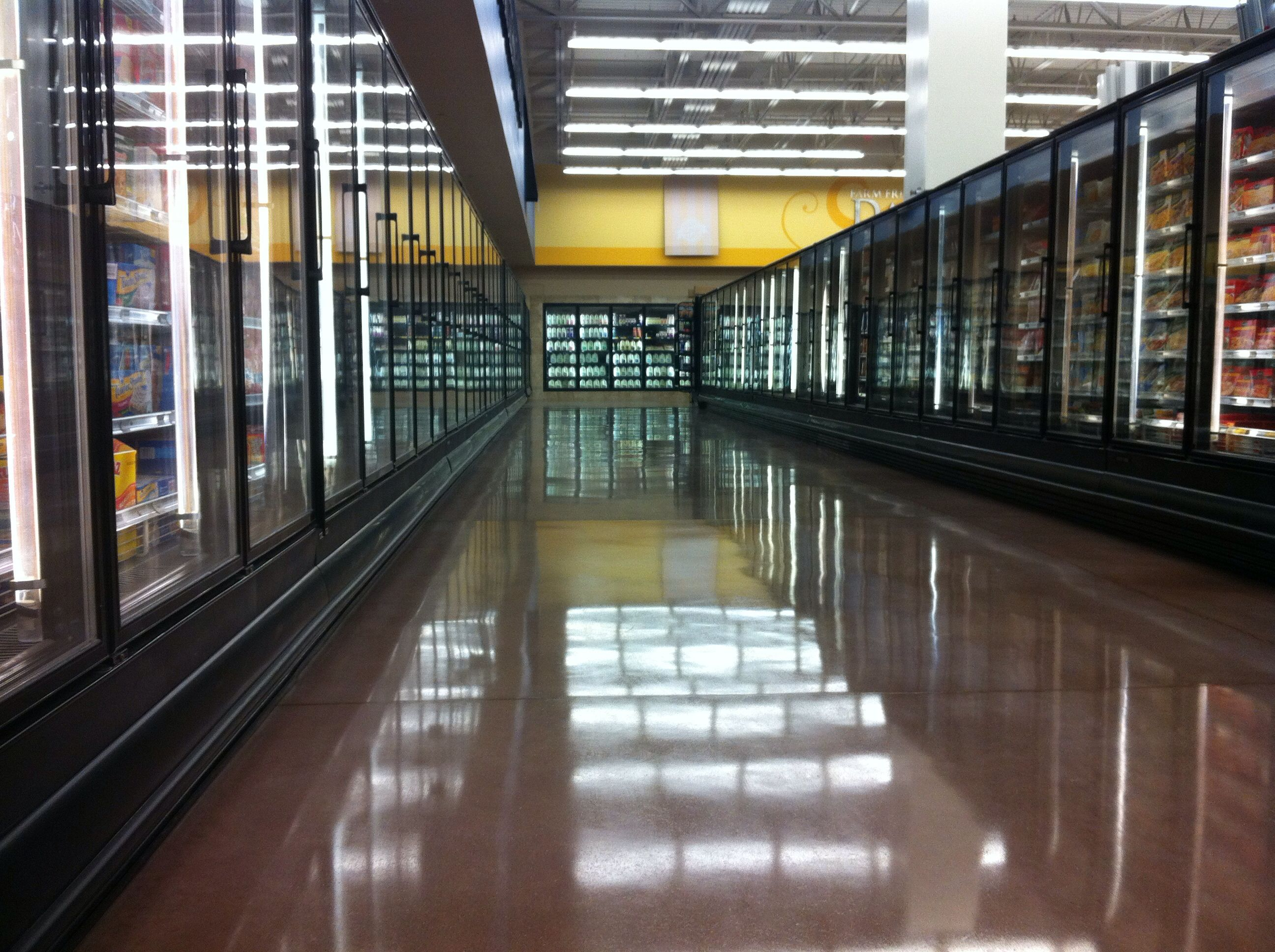 Polished concrete in a grocery store