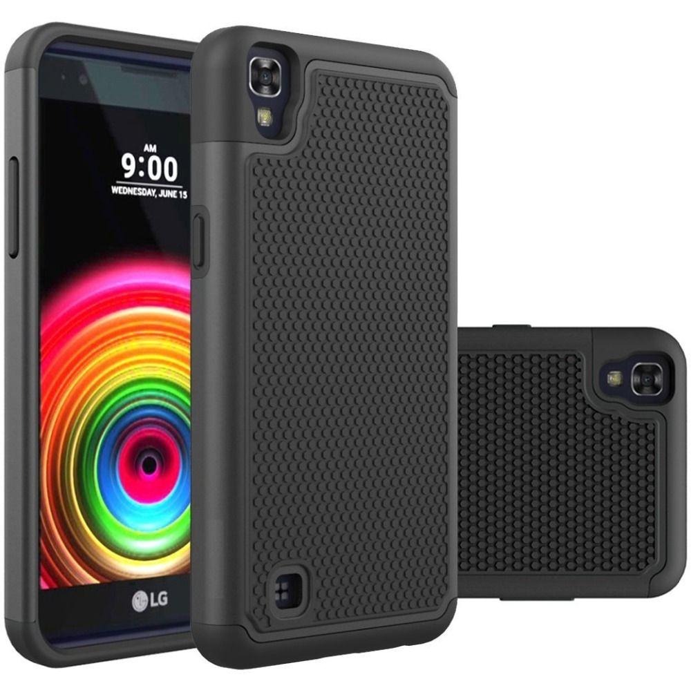 대한 lg x power case k210 k220ds 무거운 의무 실리콘 갑옷 case 하이브리드 충격 하드 case 대한 lg x power 하드 커버 고무 case