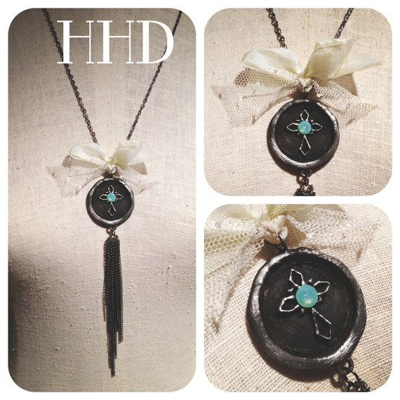 Cross wax seal with chain dangles and Swarovski by thehansenfamily, $38.00