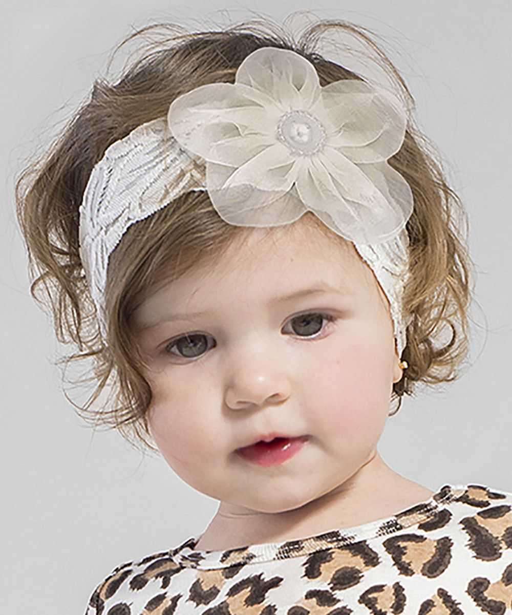 Look at this Tesa Babe Ivory Lace Organza Flower Headband on  zulily today! 4cb84473252