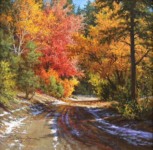 Autumn Landscape Oil Painting With Road By William Hagerman Copyright
