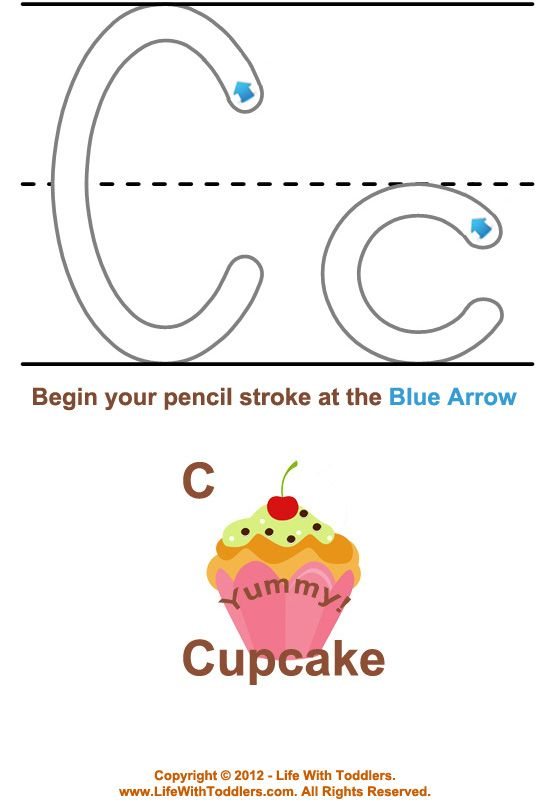 Year Old Learning Printables  Learn To Write Letter C For