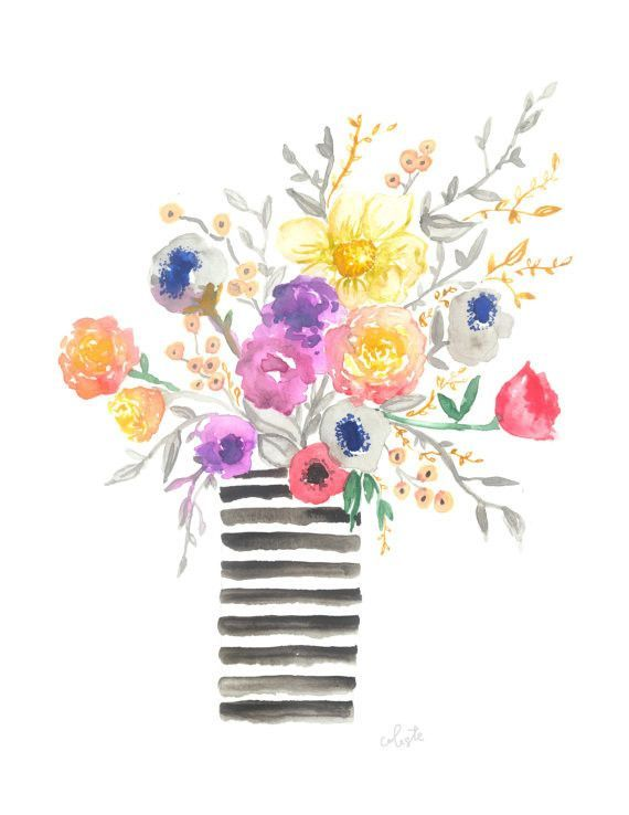 The Madeline Jane Summer Floral Bouquet Arrangement Watercolor