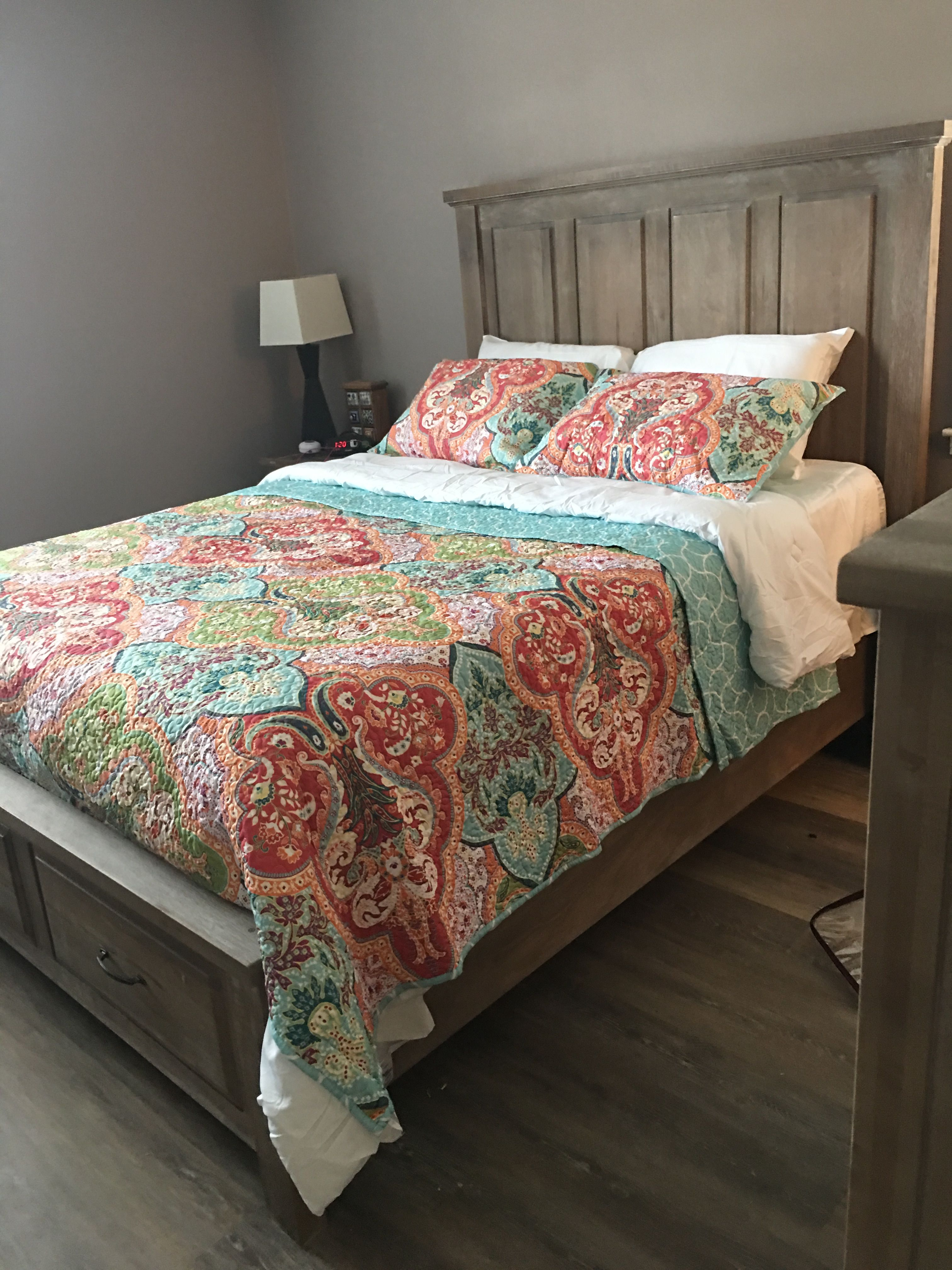 Our new bed set, bedroom furniture, wall color, and floors