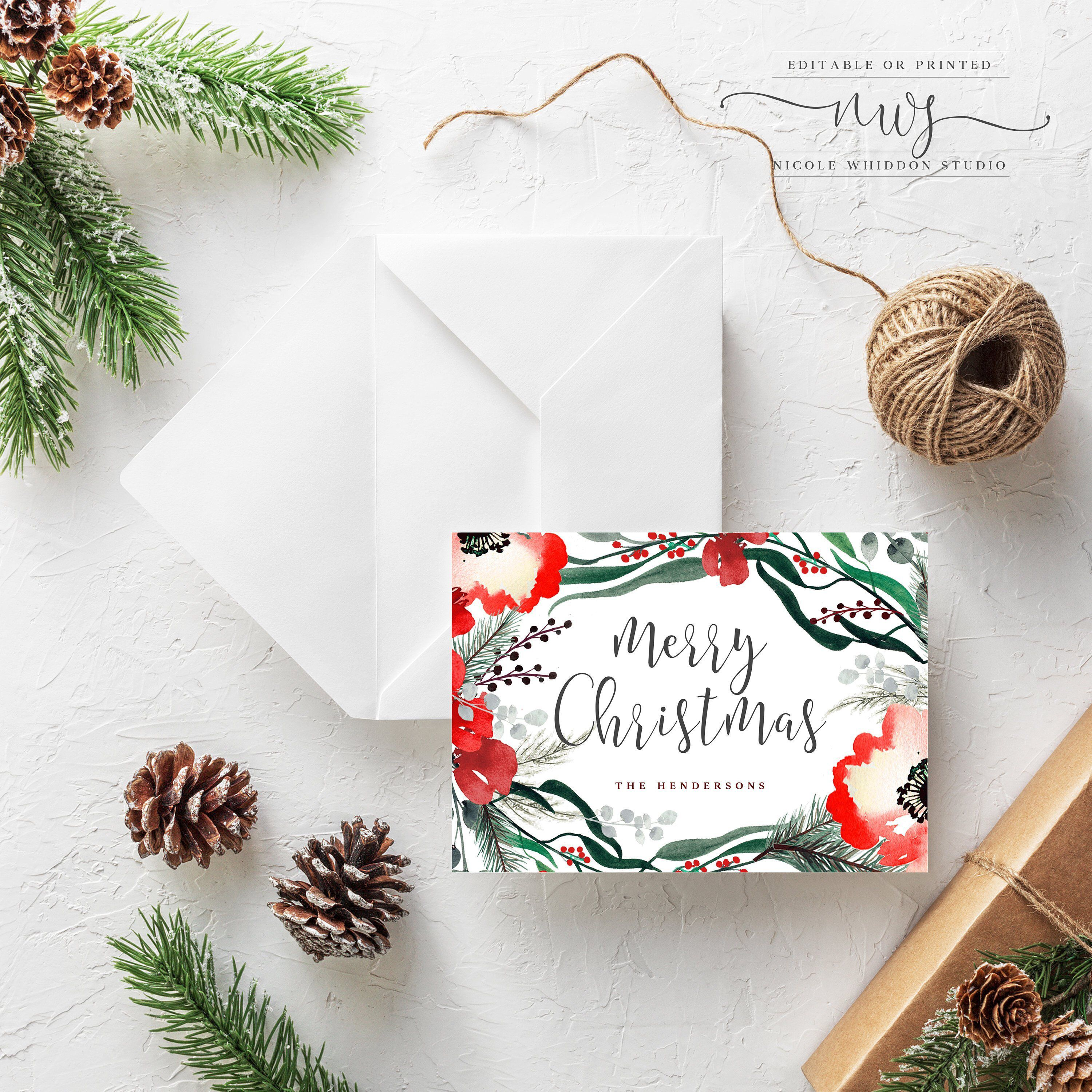 Excited To Share This Item From My Etsy Shop Instant Download Christmas Card With P Holiday Photo Cards Template Digital Christmas Cards Photo Card Template