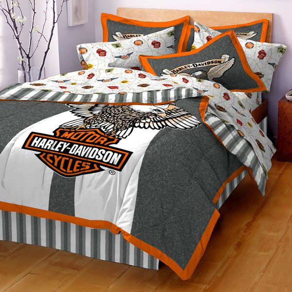 photos harley davidson sheets bedding stylish home pinterest betten. Black Bedroom Furniture Sets. Home Design Ideas