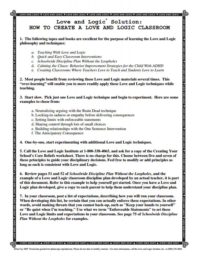 how-to-create-a-love-and-logic-classroom pdf   school