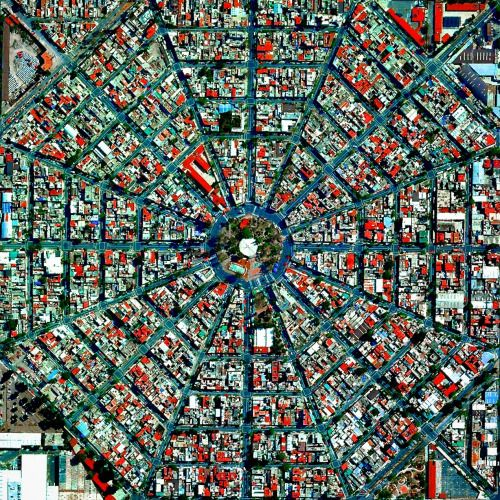 Picture of the day for August 22 2016 at 06:24PM from 'Daily Overview;  This week we will be looking at fascinating examples of urban planning - a major focus of the Where We Design chapter in our new book Overview. To start off here is one of our favorite shots of the radiating streets that surround the Plaza Del Ejecutivo in Mexico City Mexico. If you have examples of other cities that you think might look particularly mesmerizing from above please let us know in the comments…