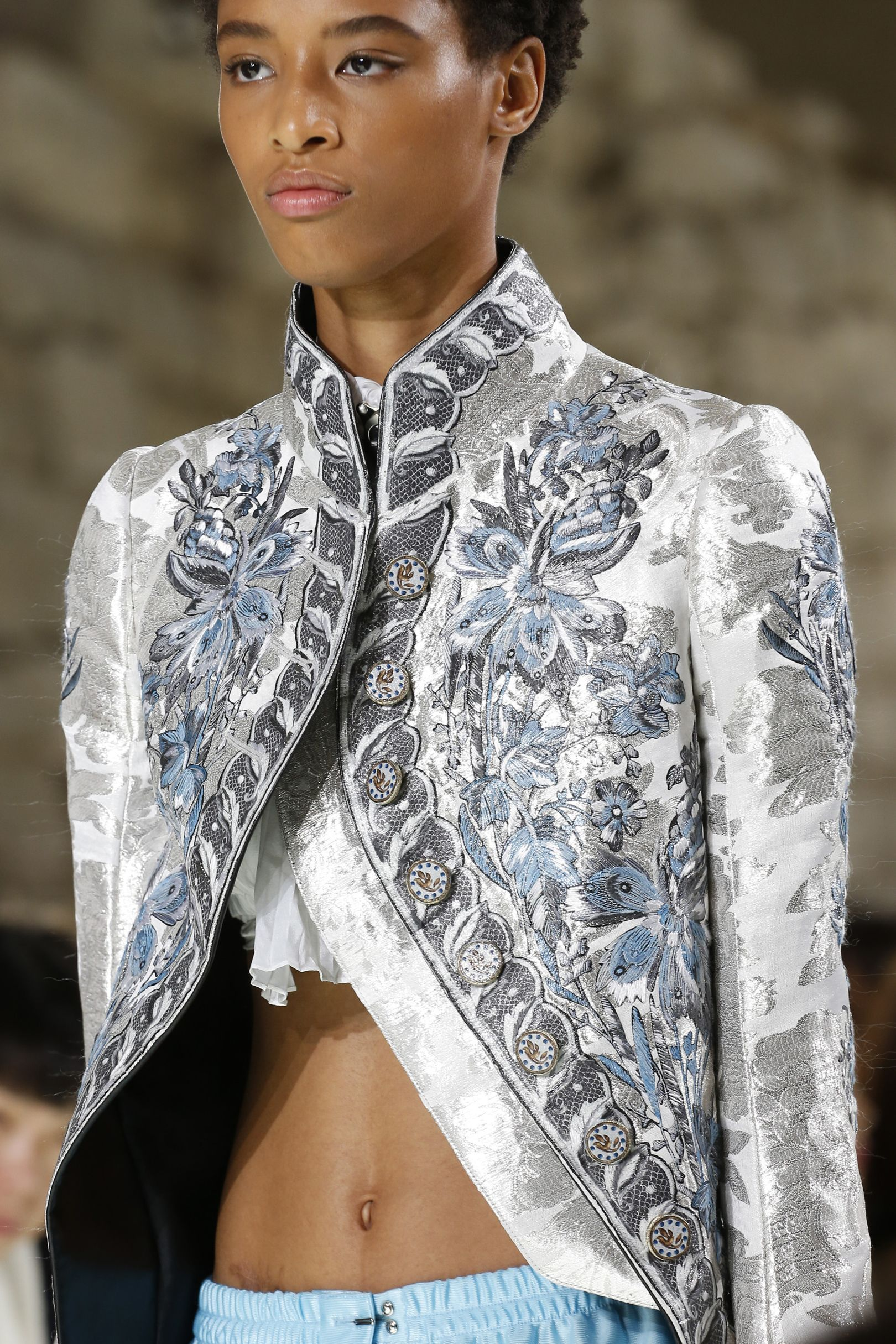 67c776ec33a8 Louis Vuitton silver and blue frock coat from their SS18 Collection   investmentpiece.
