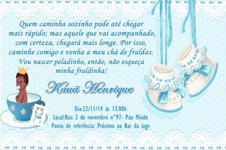 Convites Para Chá De Fraldas Azul Princípe Mensagens E Frases
