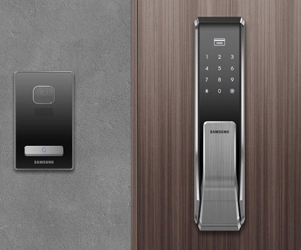 Powered by eight AA batteries, the Two Way Fingerprint Door Lock can