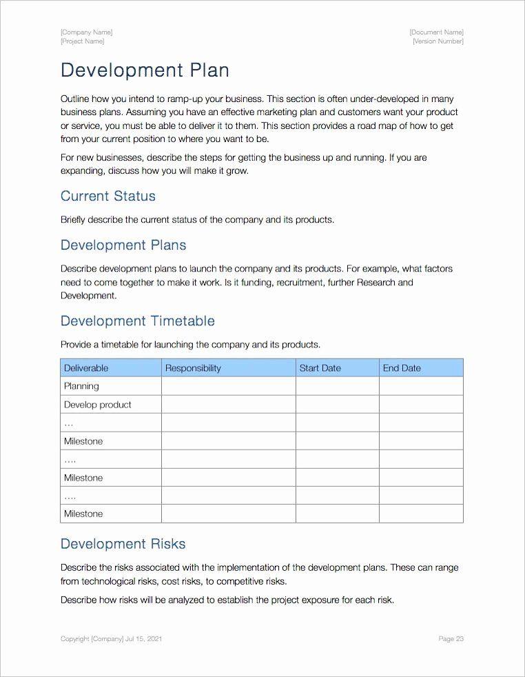 Business Development Plan Template in 2020 Business