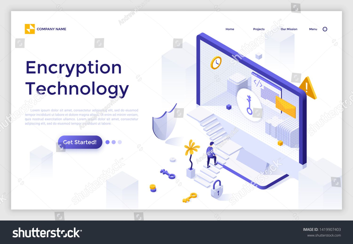 Landing page template with man ascending stairs to enter