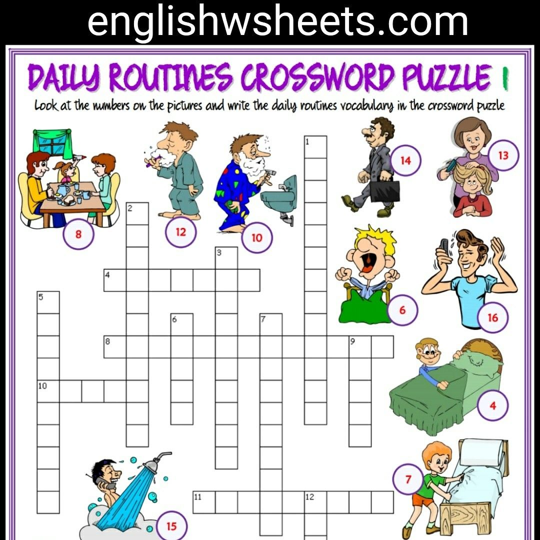 Daily Routines Esl Printable Crossword Puzzle Worksheets For Kids Daily Routines