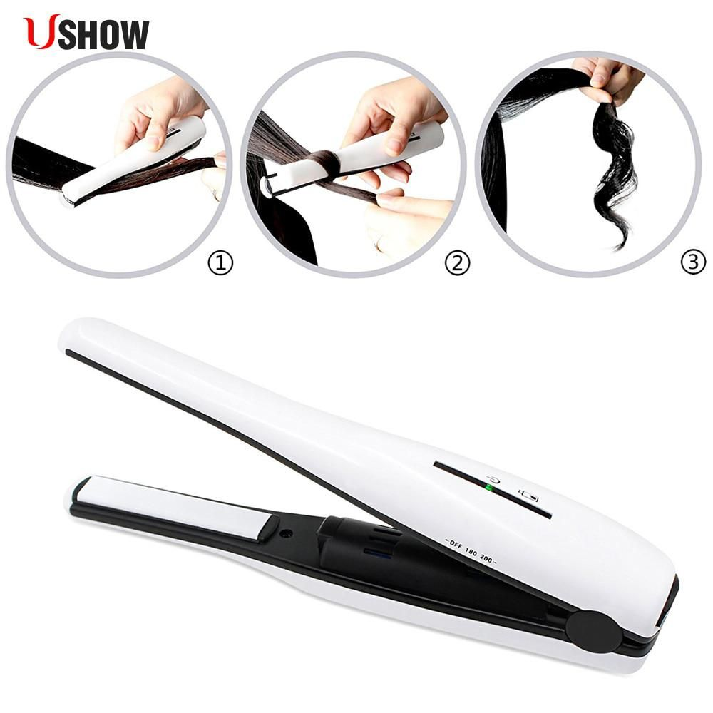 Portable Mini Wireless Hair Straightener Ceramic Iron Hair Curling Straighter Cordless Power Usb Ceramic Hair Iron Hair Straightener Ceramic Hair Straightener