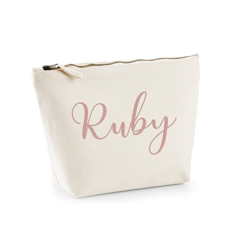 Initial Accessory Bag Christmas Gift Clutch Bag Rose Gold Personalised Initial Leather Look Pouch Personalised Clutch Bag Gift for Her