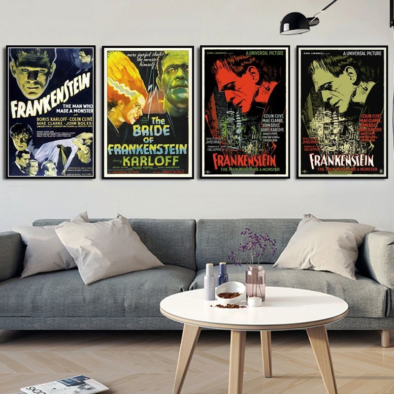 Frankenstein Universal Monsters Horror Movie Vintage Poster Prints Art Canvas Painting Wall Pictures For Liv Movie Poster Room Movie Posters Decor Horror Decor