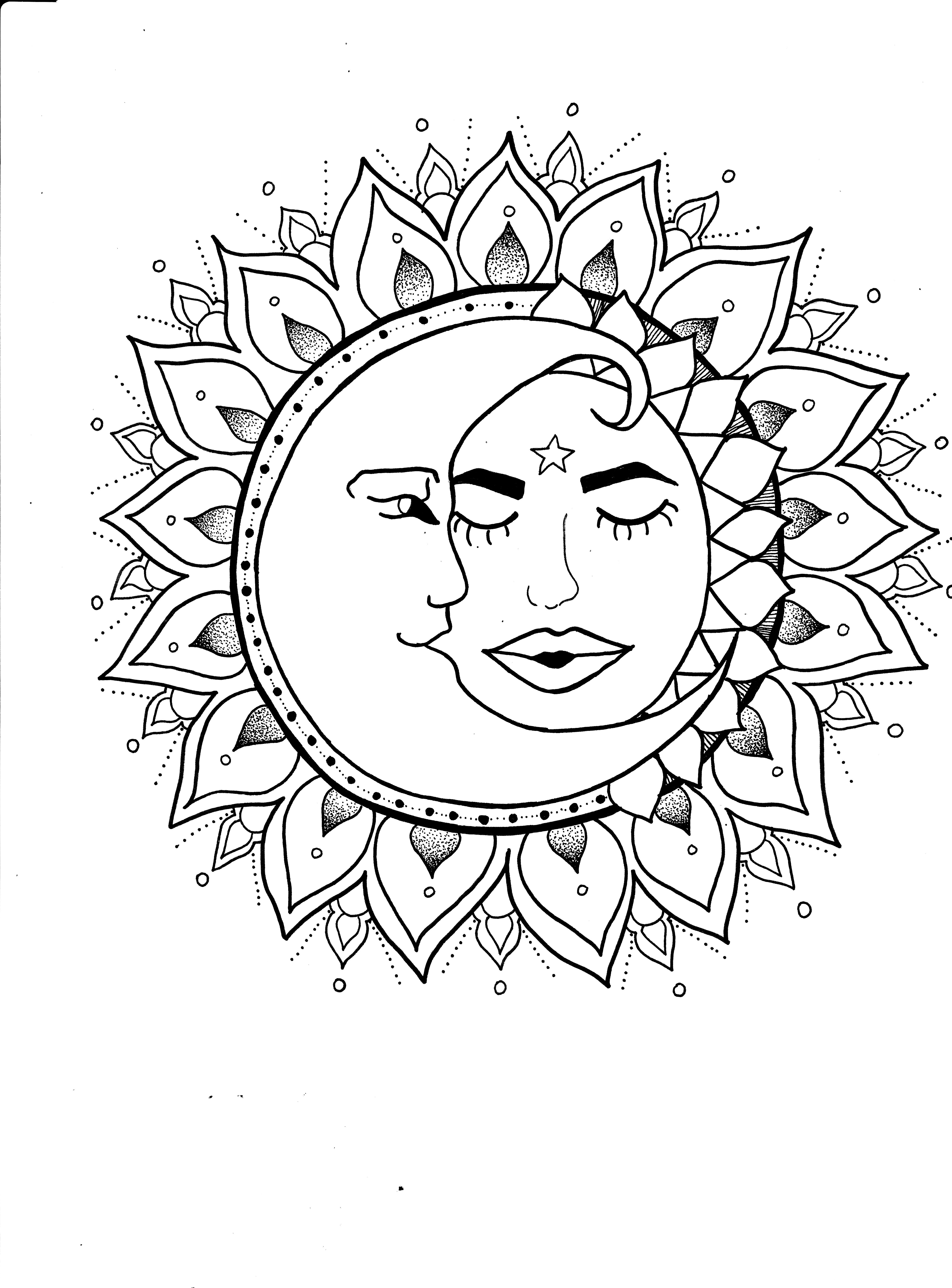 Sun And Moon Art Mandala Cute Tattoo Design By Staycreepystudios Available On Etsy Mandala Coloring Pages Mandala Drawing Summer Coloring Pages