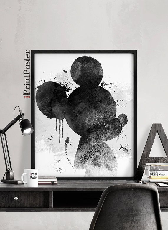 micky mickey poster aquarell druck mickey mouse disney wanddekoration home decor dekor. Black Bedroom Furniture Sets. Home Design Ideas