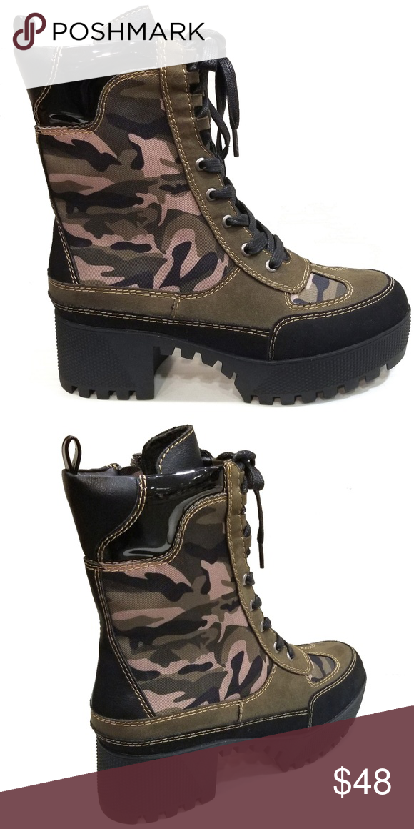 b1a0667d133e New Camouflage Lace Up Combat Platform Lug Boots Be the center of attention  in these awesome lace up chunky lug sole ankle boots.