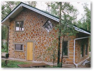 Cordwood Masonry, might look nice mixed with reclaimed brick if we ...