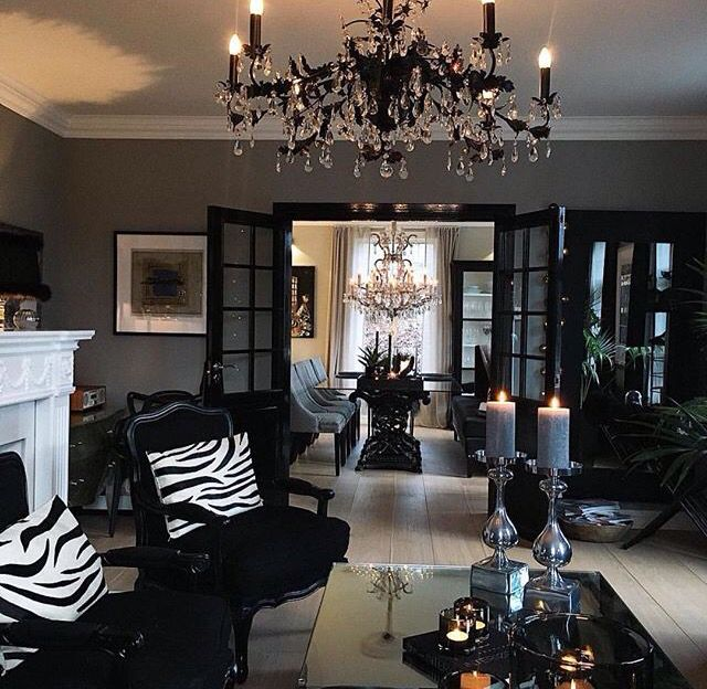 16 Stunning French Style Living Room Ideas: Black And Silver And Gray Living Room Design, Gothic Black