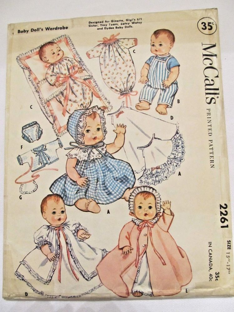 """Baby Doll Clothes Vtg Pattern ~ for 8/"""" Ginny Ginnette Wendy Alexander-kins"""