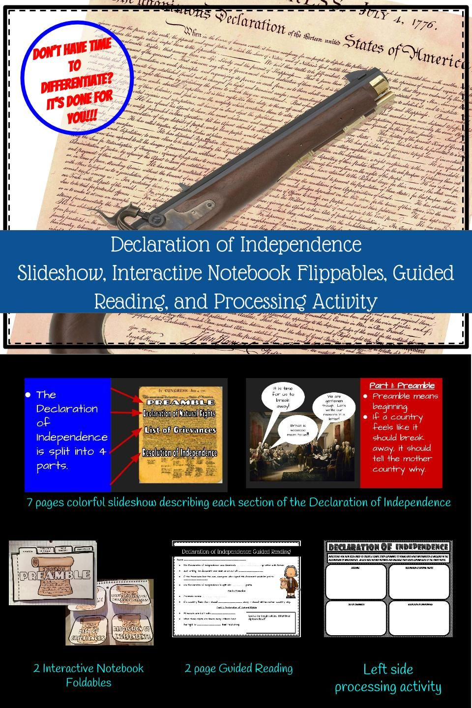Declaration Of Independence Interactive Notebook Declaration Of Independence Interactive Notebooks Social Studies Elementary Reading like historian declaration of