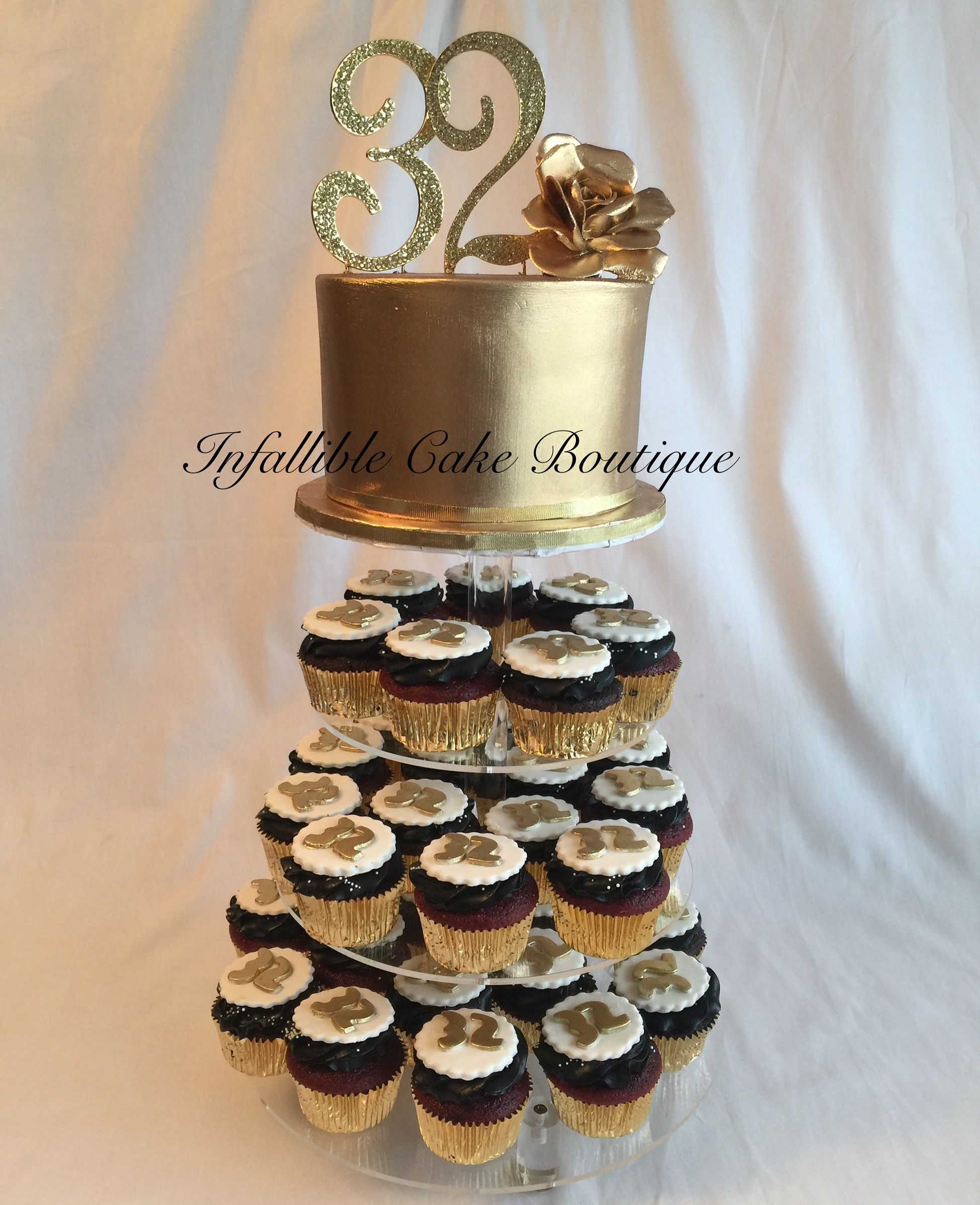Gold And Black 32nd Birthday Cupcake Tower Cake Birthday
