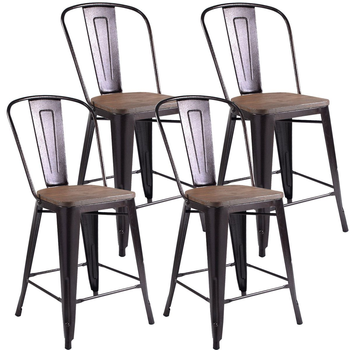 Home Wood counter stools, Kitchen stools, Metal dining