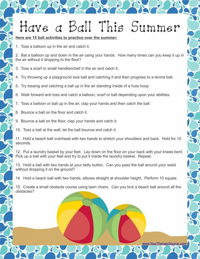 photograph relating to Have a Ball This Summer Free Printable named Contain a Ball This Summer season Pediatric/Higher education Primarily based OT/PT Weblog